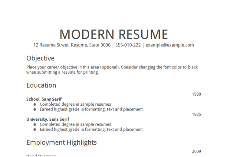 resume template for job application