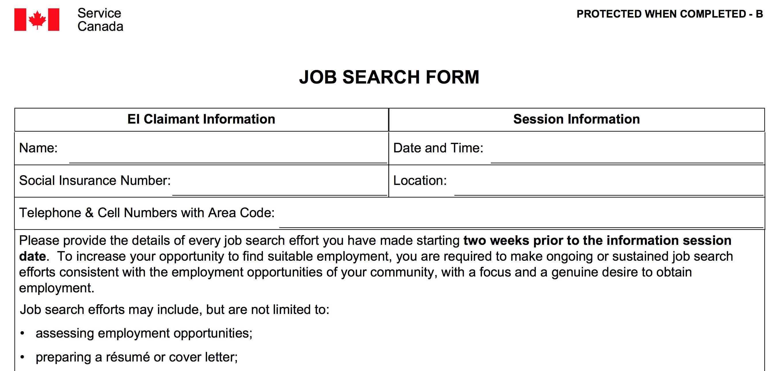 Unemployment job log form