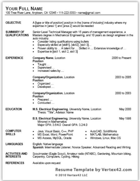 Job Resume Template Word Classic Job Resume Word Templates – Resume Sample Word