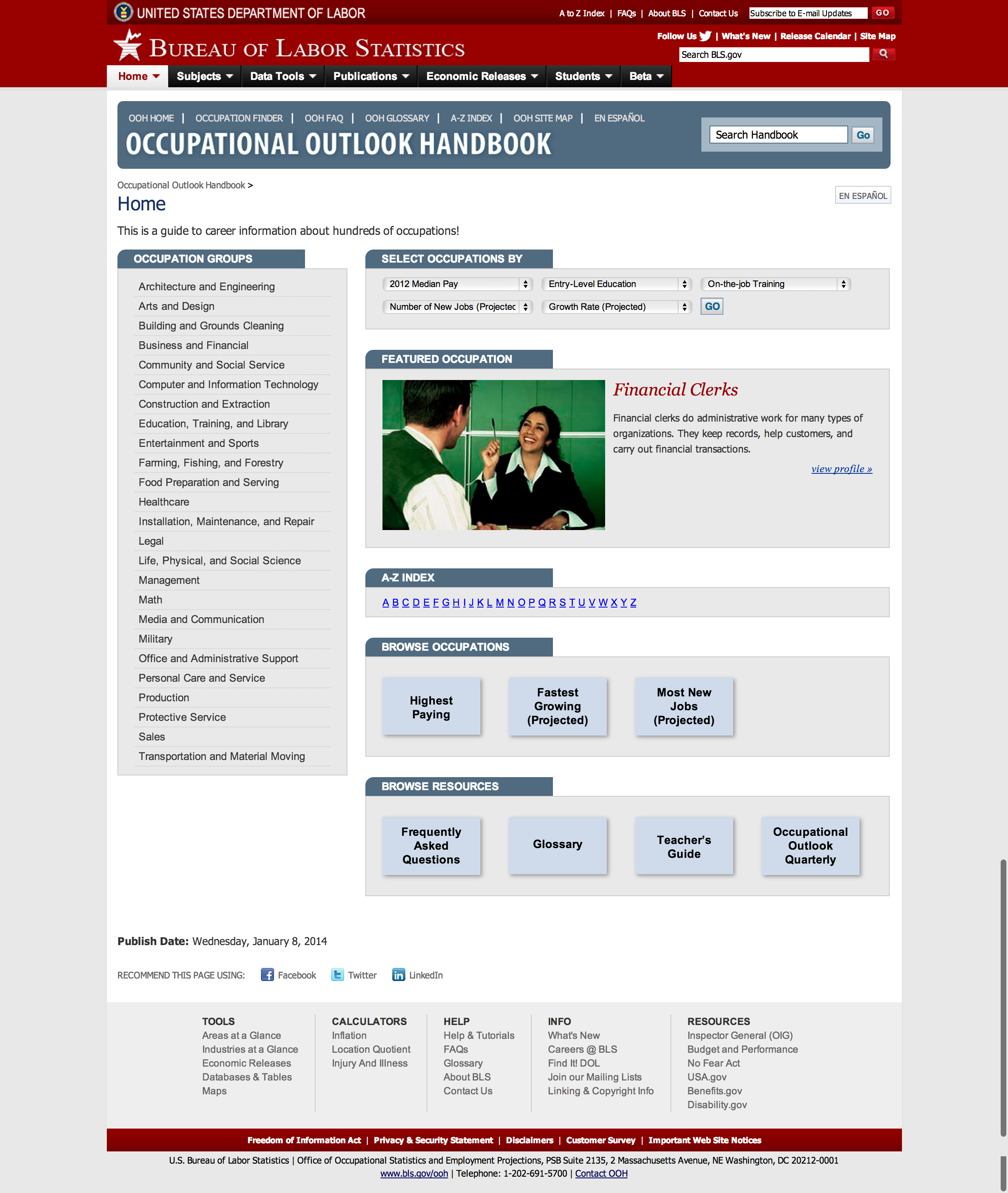 Projections overview occupational outlook handbook us for Bureau of labor statistics
