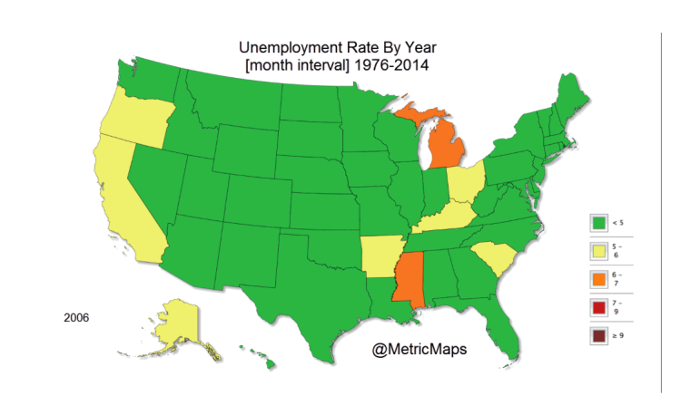 Unemployment in US State-by-State : 38 Years in one map   Job Market ...